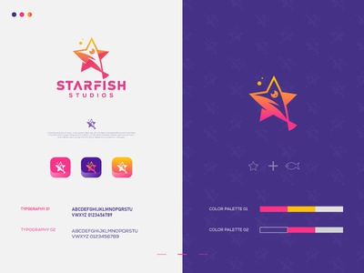 Starfish Studio Brand Logo 2d studio game illustration saas sass b2c startup b2b product software application desktop flat grid gloden ratio business agency service sea starfish star letter logo identity icon branding blockchain app 3d