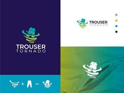 Trouser Tornado logo branding shop cloth logo design illustration startup b2b product software application desktop saas sass b2c icon illustrator color flat grid gloden ratio business agency service branding identity design