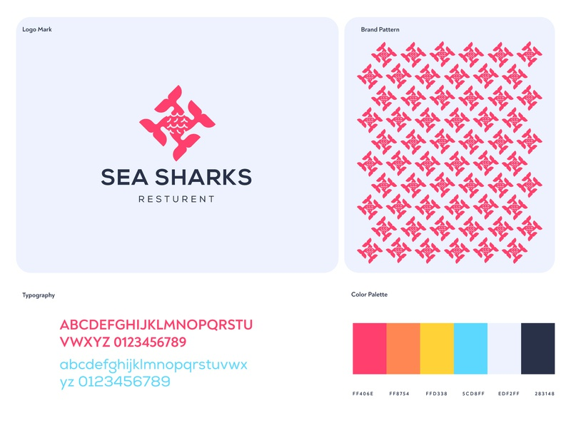 Sea Sharks Brand Logo Icon shark sunset ocean wave sea resturant food icon illustrator color branding identity design business agency service flat grid gloden ratio