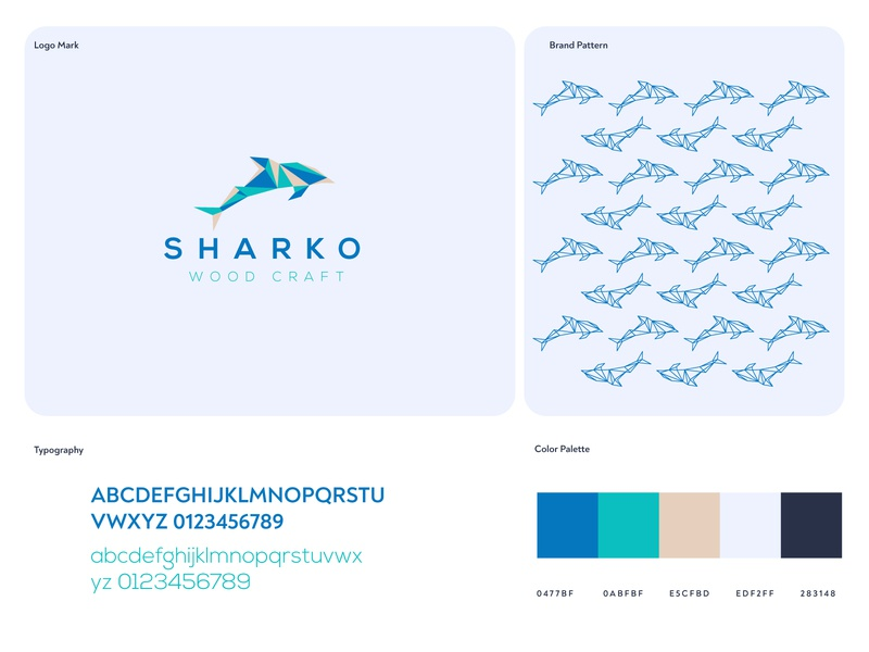 Sharko Wood Craft Logo Icon illustration branding identity design trendy shark logo flat colorful minimalist