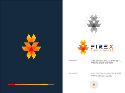 Fire X Fire fighter Group logo Icon