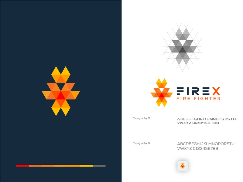 Fire X Fire fighter Group logo Icon colorful logo geometric logo minimal logo print logo minimalist logo flat logo business agency service icon illustrator color branding identity design