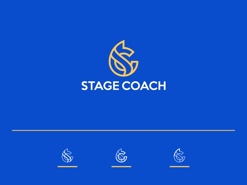 StageCoach is a big real estate investment company vector illustration minimalist logo line logo visual identity blue goldenratio grid icon animal horse line flat branding company investment real estate logo