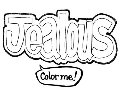 Color Me Jealous jealousy color envy bw black and white sketch vector reboundme rebound me handdrawn hand drawn