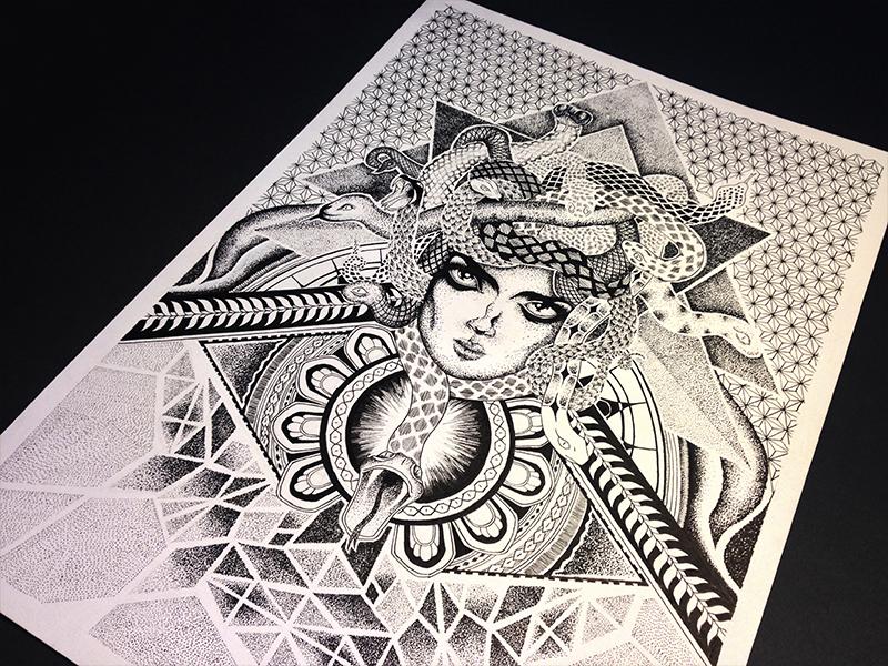 Medusa Illustration Tattoo: Medusa Tattoo Drawing By Charlotte Walle On Dribbble