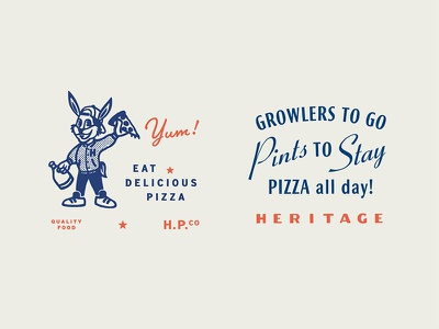 Heritage Pizza Lockups tractorbeam branding typography rabbit stamp beer growler pint logo pizza mascot mark