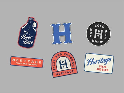 Heritage Pizza Patches beer growler h badges lettering typography lockup type monogram branding tractorbeam