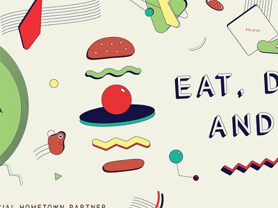 Burger bun squiggle abstract geometric deconstructed smiley face smile illustration type branding tractorbeam