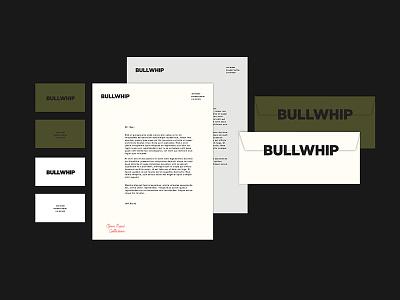 BULLWHIP letterhead business card envelope mark script branding collateral logo tractorbeam