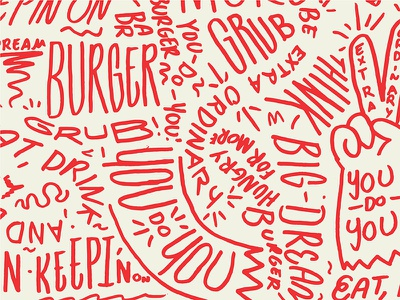 Burger Pattern you do you dream big peace lines squiggle lettering illustration pattern branding tractorbeam
