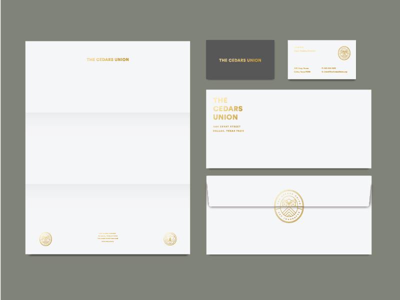 The Cedars Union gold foil envelope business card letterhead line seal mark illustration branding tractorbeam