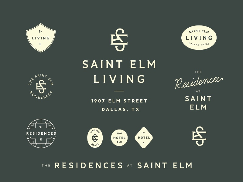 St. Elm Marks logo enclosure line curve badge mark seal script monogram lettering branding tractorbeam