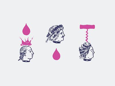 Wine Icons royal crown screw cork wine sketch illustration branding tractorbeam