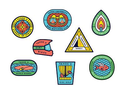 More TahoeU Badges disc golf compass climbing paddle board fire match helmet dead fish illustration branding tractorbeam