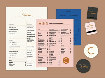 Bar Charles foil lettering mark logo matches menu geometric deco branding tractorbeam