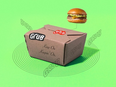 Grub To-Go Packaging neon grunge abstract burger sticker lettering type design typography logo branding tractorbeam