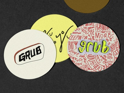 Grub Coasters graffiti pattern identity tractorbeam branding logo typography design type lettering burger abstract grunge neon