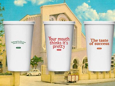 Jojoli Cups restaurant packaging cup lettering type identity design typography mark illustration logo tractorbeam branding