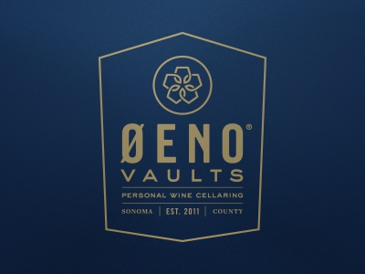 Oeno Vaults logo wine type gold blue trade gothic sweet sans identity branding