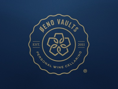 Oeno Vaults Seal of Approval logo wine type gold blue trade gothic sweet sans identity branding badge