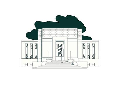 Block House Illustration icon vector identity branding texas brick building illustration tractorbeam