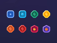 Introducing Difficulty ⚡ Levels - NeonMob levels difficulty design mobile web badges badge sketch illustration ui gamification leveldesign level