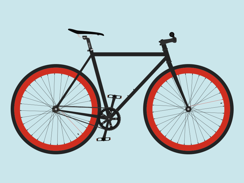 My Fixie (AI) bycicle bike rebount fixie black red illustration purefix cycle flat ai freebie