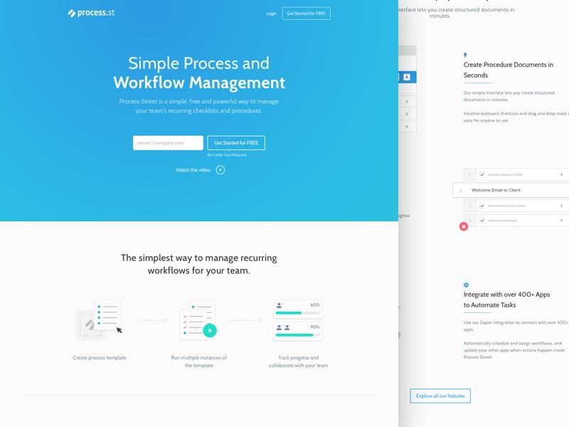Process Street : Home design homepage workflow process web gradient landing page website
