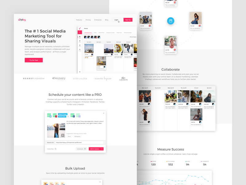 Viraltag  :  Home landing page landing clean social media ux ui product design