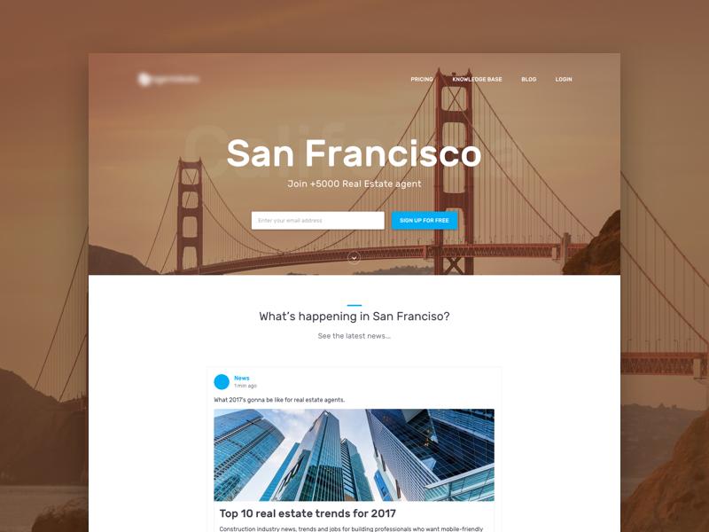Real Estate Network - 🌉  landing feed san francisco network real estate website homepage sketch