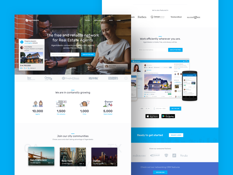 Agentdesks — Home award illustration homepage landing network real estate website
