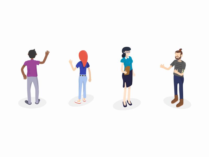 Isometric Illustration marketing social media collaborate team people vector characters illustration isometric