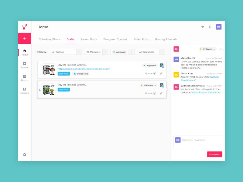 Viraltag   Collaboration Tool clean ui collaboration social media marketing viraltag