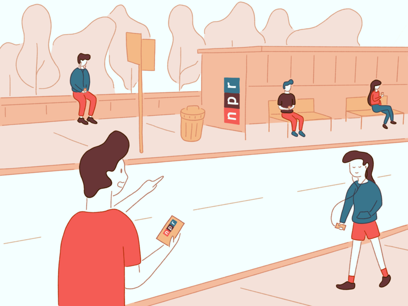 Project Impact listening people busstop illustration publicradio npr impact
