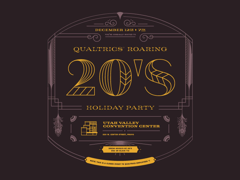 Holiday Party Invite Front art deco jeames lettering