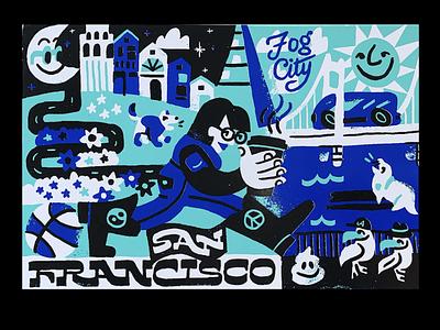 San Francisco postcard screenprint san francisco illustration