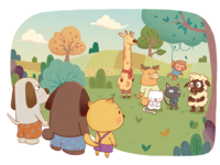 A group of animals are discussing food
