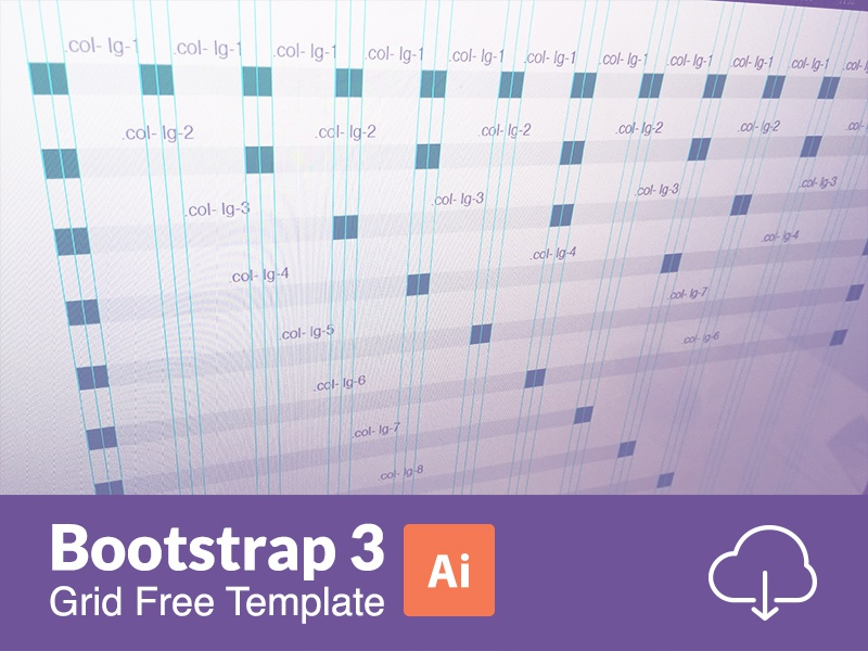 Bootstrap 3 Responsive Grid Illustratror Templates (AI)  info template ui design web free download grid bootstrap ai