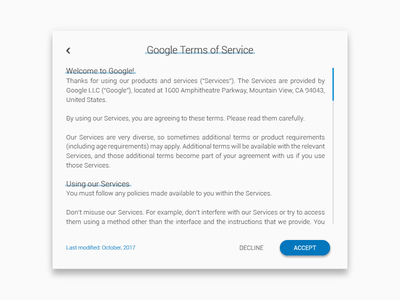 Daily UI #89 Terms of Service material design terms of service service of terms design material 089 challenge dailyui
