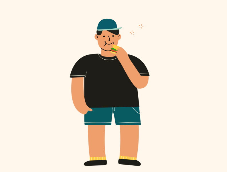Fat Boy Eating ui human boy fat character design design illustraion illustrator character