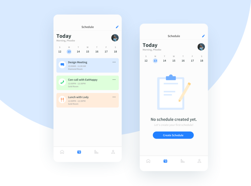 Schedule/Calendar/Empty State UI App emptystate clean blue uiux ux ui timetable taskboard task schedule mobile design light dailyui calendar app