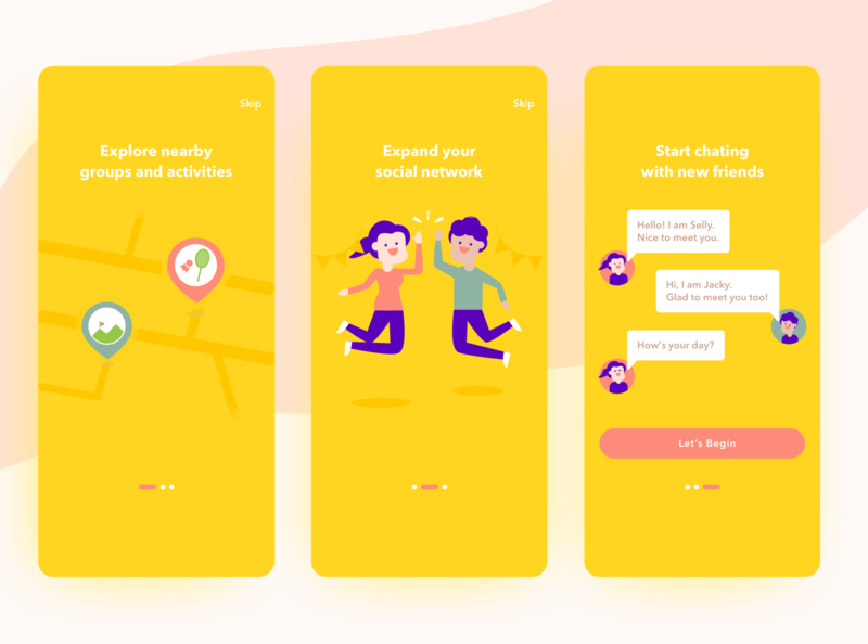 Onboarding Social App UI happy cheer friend meetup chat social yellow onboarding ui onboarding character design character app illustration dailyui uiux ux ui