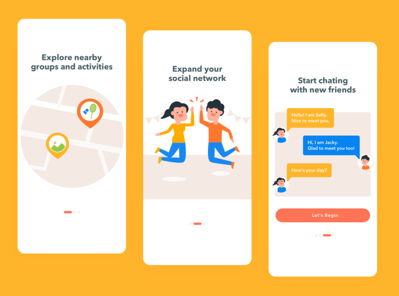 Onboarding Social App UI yellow energetic cheer happy mobile friend friends meetup social onboarding screen onboarding ui onboarding character design character app illustration dailyui ux uiux ui