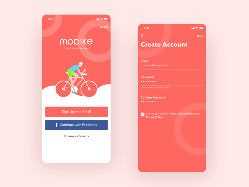 Sign In/Sign Up UI App cycling bike app dailyui sign up sign in registration log in account signin signup uiux ux ui