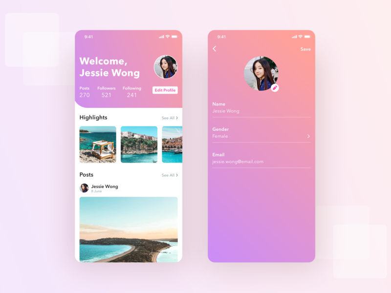 Profile UI App app dailyui social app account ux uiux ui profile