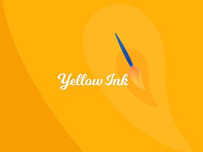 Yellow Ink Logo: Yellow + Paint/ink Brush brush paint yellow social media logodesign graphic design logo branding minimal design