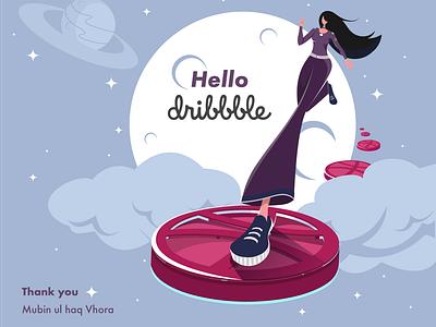 Hello Dribbble design illustrator vector design vector art digitalart flat illustration flat design first design first post firstshot illustration