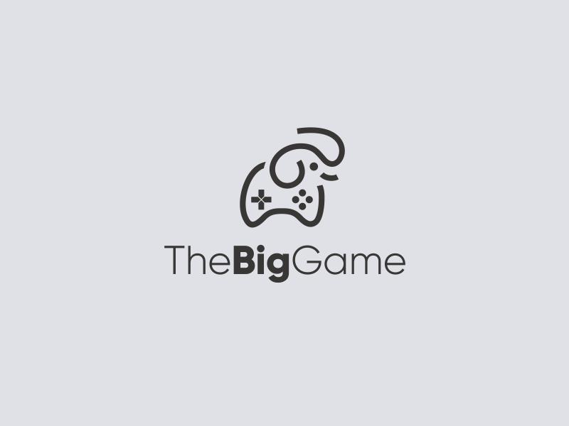 Big Game logo controller smart minimalist animal computer gamer cute elephant big gamepad game