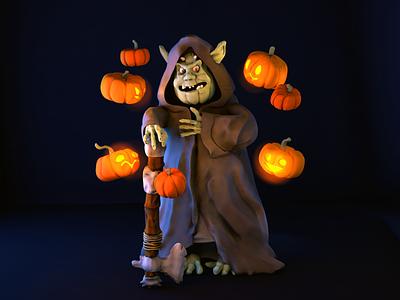 Halloween goblin character plasticine pumpkin goblin 3d halloween cinema 4d c4d42