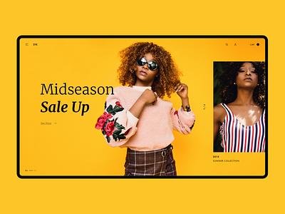 Fashion store concept yellow women clothes e-commerce shop store fashion